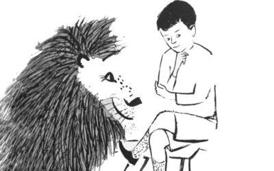 Desenho de um garoto sentado em uma cadeira pensando, ao lado dele tem um tigre.
