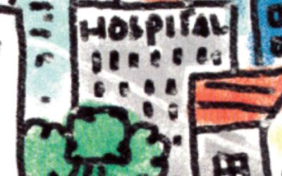 Imagem ilustra um desenho de uma cidade, onde tem vários prédios, um hospital, e uma escola.