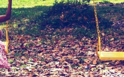 Imagem de uma menina de costas brincando em um balanço.