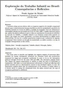 Foto de um documento: Exploração do trabalho infantil no Brasil: Consequências e Reflexões.