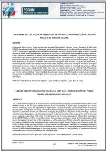 Foto de um documento: Programa ruas de lazer da prefeitura de são Paulo: Modernização na gestão pública do esporte e lazer.