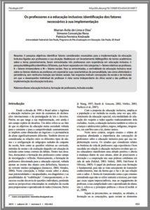 Foto de um documento: Os professores e a educação inclusiva: identificação dos fatores necessários à sua implementação.