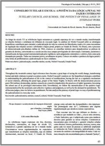 Foto de um documento: Conselho tutelar e escola: A potência da lógica penal no fazer cotidiano.
