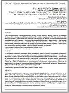"""Foto de um documento: Uma análise do acontecimento """"Crianças e jovens em risco""""."""