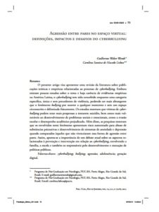 Foto de um documento: Agressão entre pares no espaço virtual: Definições, impactos e desafios do Cyberbullying.