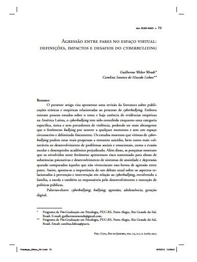 Agressão entre pares no espaço virtual: definições, impactos e desafios docyberbullying
