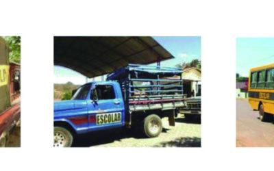 Três fotos com meios de transporte, duas caminhonetes e um ônibus.