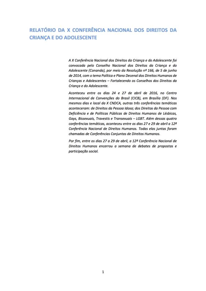 Imagem do relatório final da décima conferencia nacional dos direitos da criança e do adolescente.