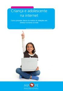 """Capa da cartilha: """"Criança e adolescente na internete"""""""