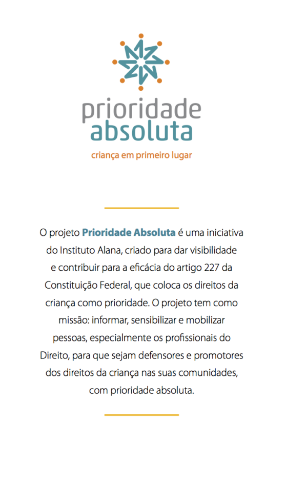 Cartaz informativo do projeto prioridade absoluta.