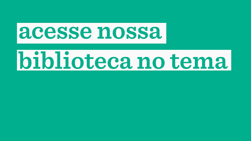 Em fundo verde, a frase: acesse nossa biblioteca no tema