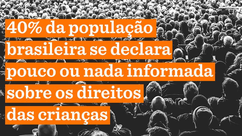 Foto em preto e branco de várias pessoas de costas, sentadas em uma plateia. Texto da imagem: 40% da população brasileira se declara pouco ou nada informada sobre os direitos das crianças