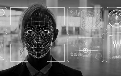 Foto de rosto de pessoa sendo analisado por sistema de reconhecimento facial