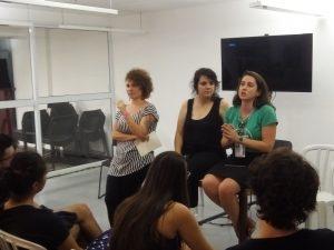 Da esquerda para a direita: Jamila Ventura, Renata Assumpção e Marina Pita