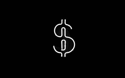 em fundo preto, sinal do cifrão no centro da imagem representa orçamento destinado a renda básica para famílias vulneráveis durante a pandemia