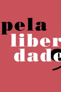 """Capa do livro """"Pela liberdade"""". Em fundo vermelho, texto: pela liberdade"""